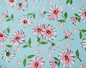 Suzuko Koseki Daisies in Blue and Pink by Yuwa - 1/2 Yard