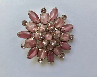 Vintage Pink Glass and Rhinestone Brooch