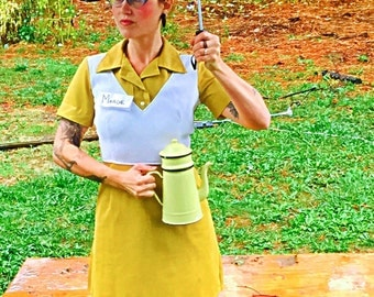 Vintage 50's Mustard Diner Waitress Dress Size 6 small/medium
