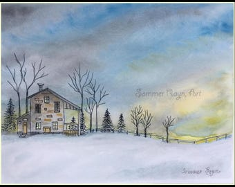 Beautiful Home in the country, a beautiful snow landscape, Winter or Christmas Card or Print, Item #0564a