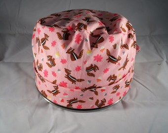 Women's Pixie Style Surgical Cap (Chipmunks On Pink)