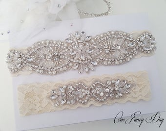 Wedding Garter Set, Vintage Wedding Garter Set, Rustic Bridal Garter Set, Toss Garter