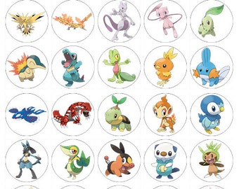 Pokemon wafer paper edible cake toppers birthday decorations x 30