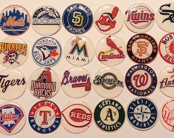 "Pick 10 MLB TEAM LOGO 1"" cabochons flatbacks Hair Bow Centers, bottle cap domes, hair bow embellishments, Baseball"