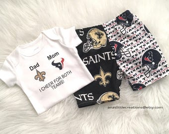Custom House Divided Football Bodysuit ( Houston Texans- New Orleans Saints) I Cheer For Both Teams and Pants or Shorts 2pc Set