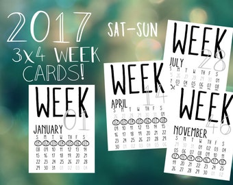 2017 Printable & Digital Numbered Week Cards with Monthly Calendar, Sunday to Saturday. Perfect for Project Life and Pocket Scrapbooking!