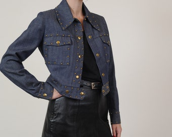 70's/80's Women's Raw Denim Studded Moto Jacket Size XS/S