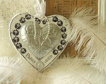 Shabby Chic Heart, Wood Wooden Metal Sheet Heart, Vintage French Paris Home Fireplace Office Shabby Hanging Wall Decor Ornament Decoration