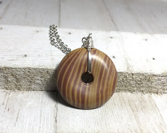 Brown Doughnut Wire Wrapped Stone Necklace; Wire Wrapped Stone Necklace; Boho Stone Pendant Necklace, Brown Pendant