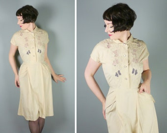 40s lightweight SILK dress with soutache EMBROIDERY and cut out lace detail to the shoulders - 1940s art deco landgirl shirtwaister - uk10
