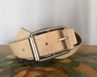 Tan Leather Belt Vintage Silver Metal Buckle Women's XL