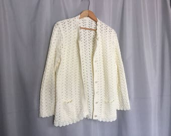 Cream Cardigan Sweater Vintage