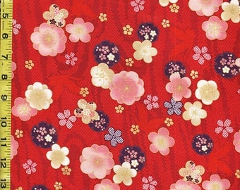Quilt Gate - Japanese Asian Sewing Quilting Fabric - Celebration - Floating Plum Blossoms & Cranes - Red
