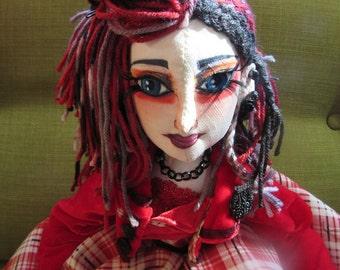OOAK cloth boudoir doll, Vivienne