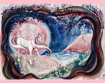 "Fantasy Unicorn 5x7"" Fine Art Quality Print."
