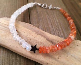 Rainbow moonstone and sunstone gemstone beaded galaxy bracelet free shipping