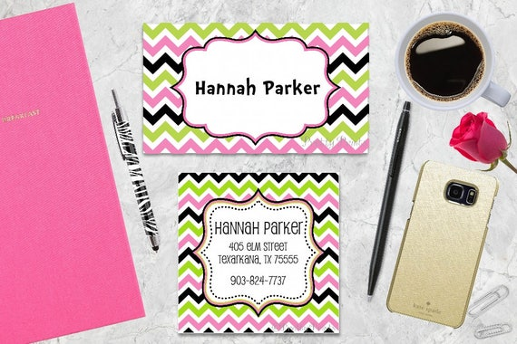Gift Tags, Chevron Gift Tags, Favor Tags, Green, Pink, Tags, Business Cards, Calling Cards, Appointment Cards, Personalized Gift Tags