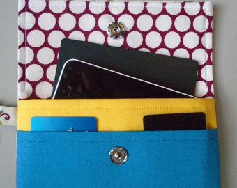 Cell phone women's wallet case, Cell phone wristlet, Passport holder, Cell phone clutch wallet