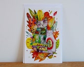 Large colorful leafs postcard  illustrated by Kim Durocher