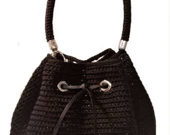 Bucket bag//black cord//crochet/bag/handbag//Made in Italy