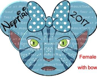 IRON-ON Avatar Navi Themed MINNIE Ears! - Mouse Ears Tshirt Transfer / Decal