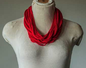 Recycled T-Shirt Necklace Red