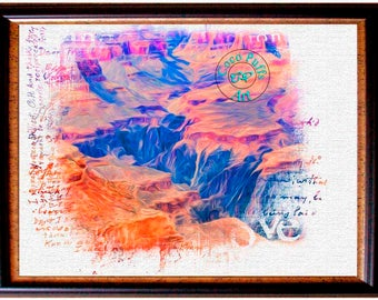 grand canyon natl forest lines painting style art art paper x inch texture