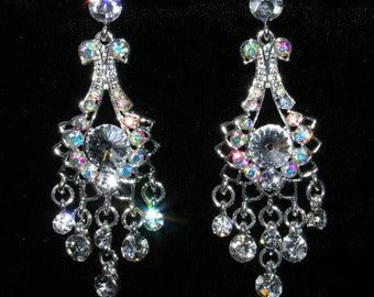 Style # 15402 - Dainty Bow Crystal and AB Chandalier Earrings