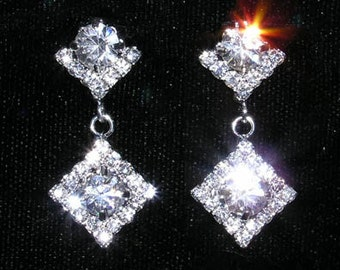 Style # 14953 - Square with Round Stone Earrings