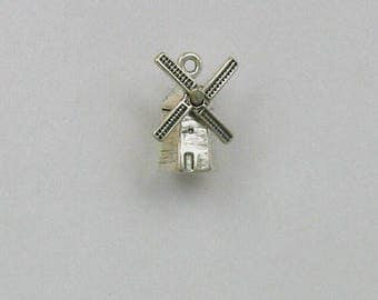 Sterling Silver 3-D Dutch Windmill Charm
