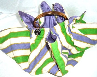 Vintage Funky HoBo Purse By MM - Summer Bag - Purple Green and White Awning Stripe w Brass Handle - Purple Lining - Beach Bag