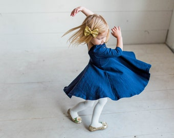 Navy Infant and Toddler Twirl Dress
