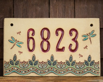 Ceramic Address House Number Sign for Outdoor Use / Housewarming or Wedding Gift / Cabin or Vacation Home / Dragonfly / CUSTOM MADE