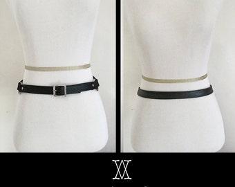 The MINIMALIST Belt - Black Leather, Leather Belt, O ring belt, goth, nugoth, kitten play, fetish wear, o ring choker, bdsm collar