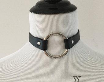 The MELANCHOLIA Collar: Black Leather O Ring Choker/Collar - 90's, Minimalist, Goth, Nugoth, BDSM, Kitten