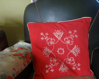 Vintage 1950's original handmade embroidered Scatter feather Cushion - Linen