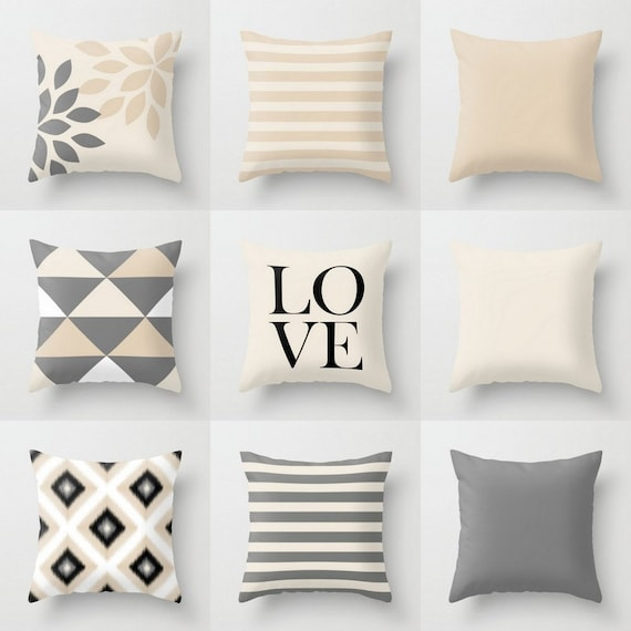 Throw Pillows For Neutral Couch : Neutral Pillow Covers Throw Pillows Neutral Home Decor Grey
