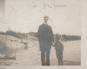 Finland, Used Postcard c1912,  adult male, young boy near water, fair shape