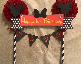 Minnie Mouse inspired Cake Topper/ Red and Black/ Birthday Cake Topper