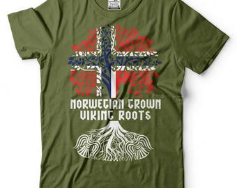 Norwegian Grown Viking Roots T-Shirt Norway Viking Patriotic T-Shirt