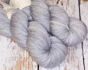 Hand Dyed DK Superwash Merino Wool Yarn in Soft Silver Gray