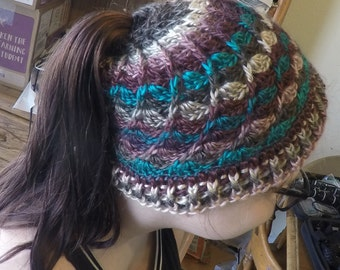 Messy Bun Beanie Hat Divinity Swirl Ponytail Hat Hand Crochet (Teal, Plum Purple, Suede)