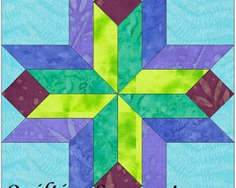EQ Stars and Beams Variation- 10 Inch Paper Piece Foundation Quilting Block Pattern PDF