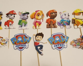12 PAW PATROL Cupcake Toppers -  Cake Toppers - Die Cuts - Birthday Party - Decorations - Cake Pops - Supplies - Decor