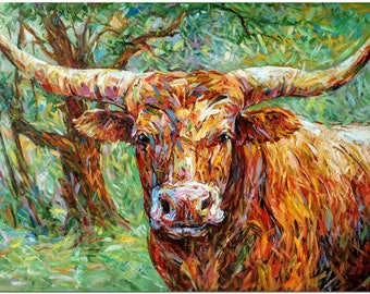 Hand Painted Impressionist Texas Longhorn Oil Painting On Canvas - Modern  Multi-colored Animal Wall Art CERTIFICATE INCLUDED
