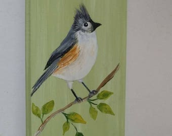 Titmouse painting, bird decor, tufted titmouse painting, bird paintings, bird art, titmouse art