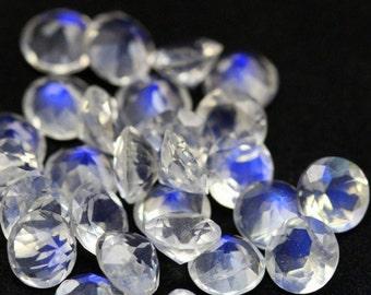 8 mm ROUND (5 pcs) Natural genuine RAINBOW moonstone Round faceted gemstone....