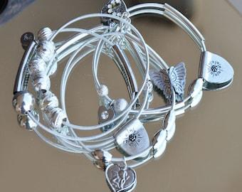 Bracelet silver lot semainier 5 bracelets - rhinestones and Butterfly heart