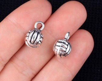 5 Volleyball Charms 3D Silver Tone, Sports Charms, Silver Volleyball Pendants 15x10mm