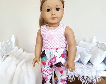 18 inch doll cupcake pajamas   pajama pants and crop top